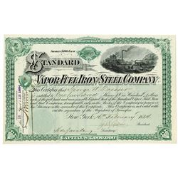 Vapor Fuel Iron and Steel Co., 1884 Issued Stock Certificate