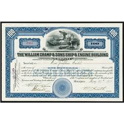 William Cramp & Sons Ship & Engine Building Co., 1934 Stock Certificate