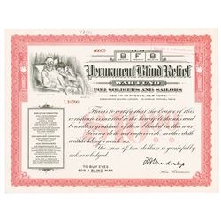 BFB Permanent Blind Relief War Fund, 1910s Specimen Stock Certificate