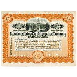 American Union Fire Insurance Co., 1920s Specimen Stock Certificate