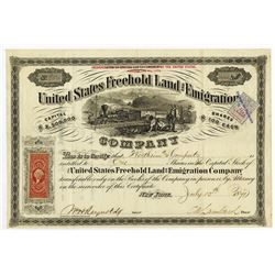 United States Freehold Land and Emigration Co., 1871 Stock Certificate