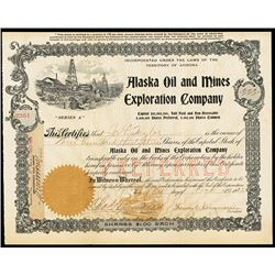 Alaska Oil and Mines Exploration Co., 1903 Stock Certificate
