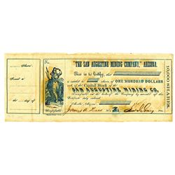 Rare Arizona Territory Confederate Officers signed Stock Certificate.