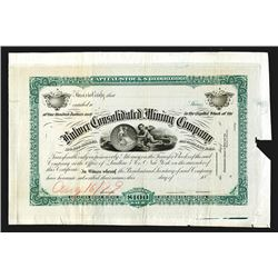 Bodie Mining District, Bulwer Consolidated Mining Co. 1879 Unique Approval Proof Stock Certificate.