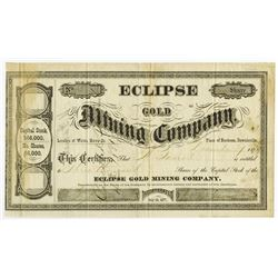 Eclipse Gold Mining Co. 1879 Issued Stock Certificate.