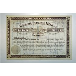 Taylor Plumas Mill and Mining Co., California, 1884 Stock Certificate.