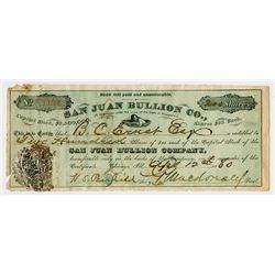 San Juan Bullion Company, 1880 Stock Certificate.