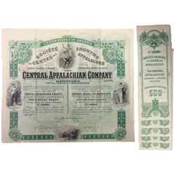 Central Appalachian Company, 1892, 500 Francs Group of Six Bond