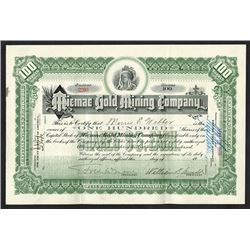 Micmac Gold Mining Company, 1908 Issued Stock Certificate.