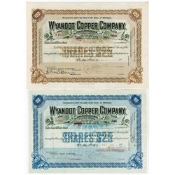 Wyandot Copper Co. 1913-1917 Pair of Issued Stock Certificates
