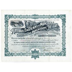 Arizona, Eastern and Montana Smelting, Ore Purchasing and Dev. Co., 1899 Stock Certificate.