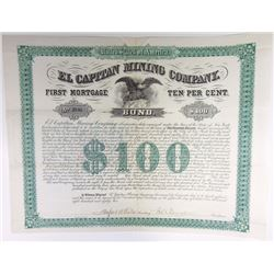 El Capitan Mining Co. 1882 Bond.