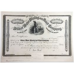 Silver Wave Mining and Land Co., ND (ca.1860-70) Unique Production Proof Stock Certificate used as m