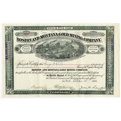 Boston and Montana Gold Mining Co., 1886 Issued Stock Certificate