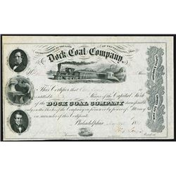 Dock Coal Company, 1855 Mining Stock Certificate.