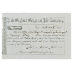 New England Emigrant Aid Co., 1855 Anti Slavery Stock Certificate