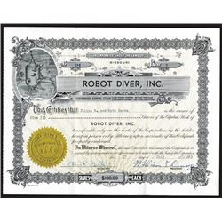 Robot Diver, Inc. 1953, Stock Certificate, Unique Vignette.