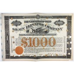 Chesapeake & Ohio Grain Elevator Company $1000 Gold Bond Signed by Collis P. Huntington
