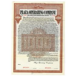 Plaza Operating Co., 1907 Specimen Bond
