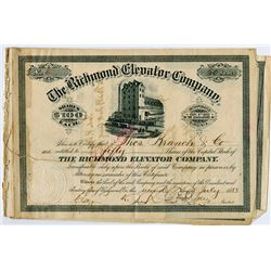 Richmond Elevator Co., 1883 Stock Certificates.