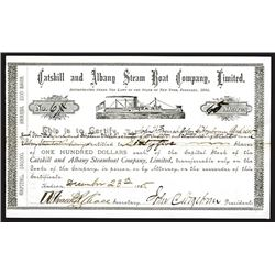 Catskill and Albany Steam Boat Co., 1885 Stock Certificate.