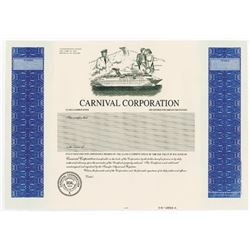 Carnival Corp., 1974 Proof Stock Certificate