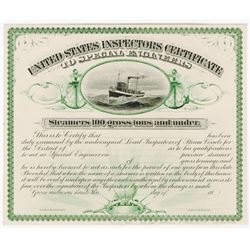 United States Inspectors Certificate, 1887 B.E.P Proof Rarity.