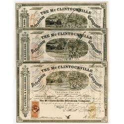 McClintockville Petroleum Co., 1864-1869 Trio of Cancelled Stock Certificate