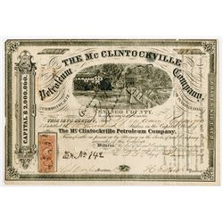 McClintockville Petroleum Co., 1865 Cancelled Stock Certificate