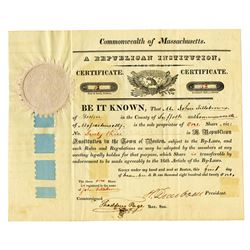 Republican Institution , 1821 Issued Stock Certificate