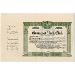 Gramercy Park Club 1909 Stock Certificate .