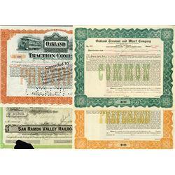 Group Lot of California Railroad Stock Certificates, ca. 1909-1912.
