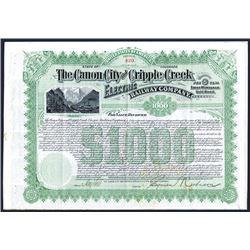 Canon City and Cripple Creek Electric Railway Co., $1000 Specimen Bond.
