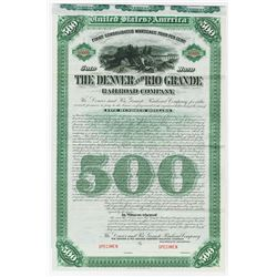 Denver and Rio Grande Railroad Co., 1886 Specimen Bond.