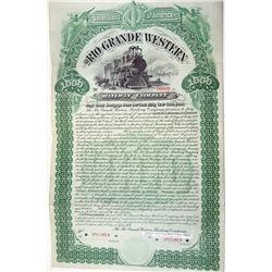 Rio Grande Western Railway Co., 1889 Specimen Bond.