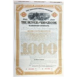 Denver and Rio Grande Railroad Co., 1886 Specimen Bond
