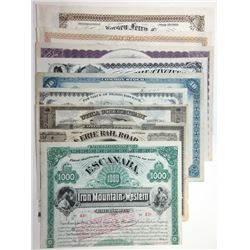 A Colorful Assortment of 9 Transportation Stocks and Bonds ca. 1850-1920's