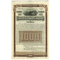 Central Railway Company of Peoria, 1895 Specimen Bond.