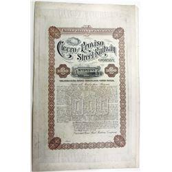 Cicero and Proviso Street Railway Co. 1889 Proof Bond.
