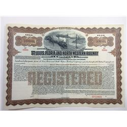 St. Louis, Peoria and North Western Railway Co., 1913, $1000 Specimen Bond.