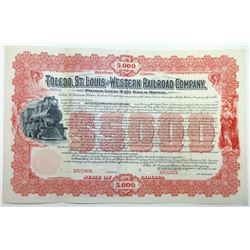 Toledo, St. Louis and Western Railroad Co., 1900 Specimen Bond