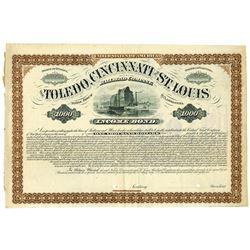 Toledo, Cincinnati and St. Louis Railroad Co., 1881 Specimen Bond
