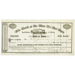 Albia, Knoxville and Des Moines Rail Road Co., 1904 Issued Stock Certificate