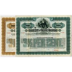 Sioux City and Pacific Railroad Co., 1901 Pair of Specimen Bonds