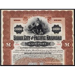 Sioux City and Pacific Railroad Co., 1901 Specimen Bond.