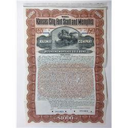 Kansas City, Fort Scott and Memphis Railway Co., 1901, $1000 Specimen Bond.