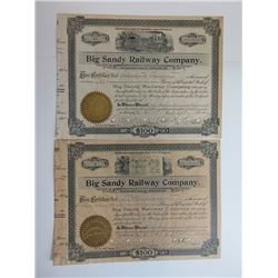 Big Sandy Railway Co. 1902 Share Certificate Pair.