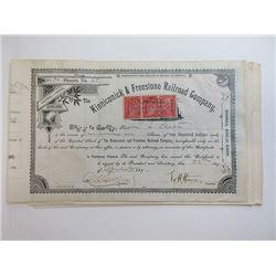 Kinneconick & Freestone Railroad Co. 1889 Stock Certificate Group