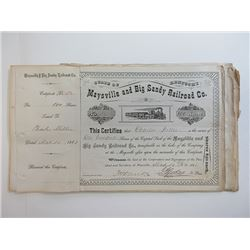 Maysville & Big Sandy Railroad Co. 1888-89 Share Certificate Group