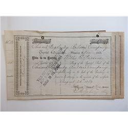 Ohio & Big Sandy Railroad Co. 1889 Stock Certificate Trio.